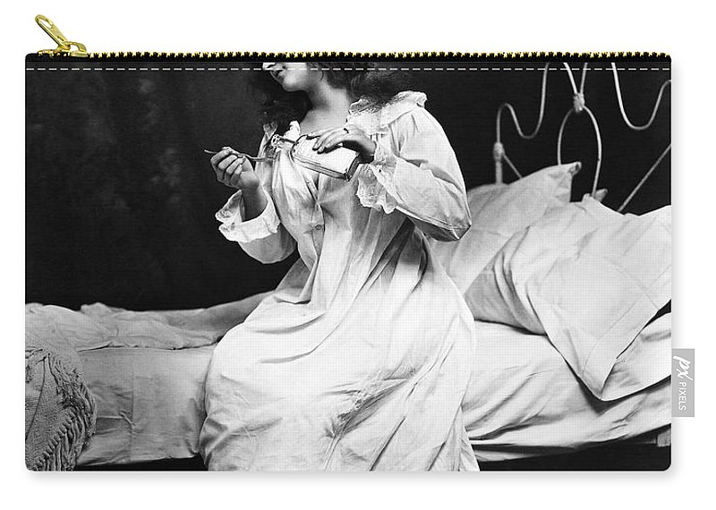 1901 Carry-all Pouch featuring the photograph A Night Cap, 1901 by Granger