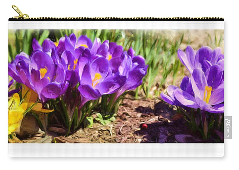 Crocus Carry-all Pouch featuring the photograph A Painting Crocus Panoramic by Mike Nellums