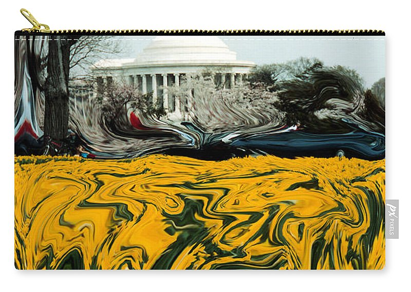 Jefferson Memorial Carry-all Pouch featuring the photograph A Painting Jefferson Memorial Dali-style by Mike Nellums
