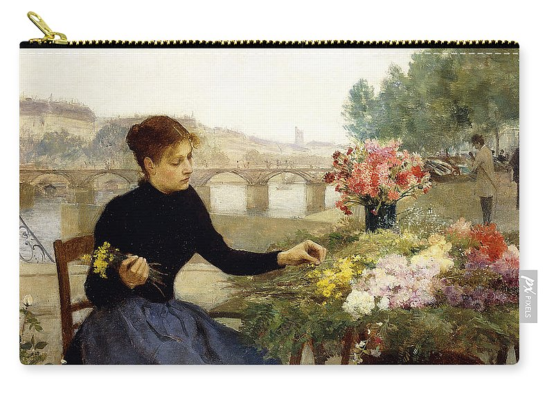 Victor Gabriel Gilbert Carry-all Pouch featuring the painting A Parisian Flower Market by Victor Gabriel Gilbert