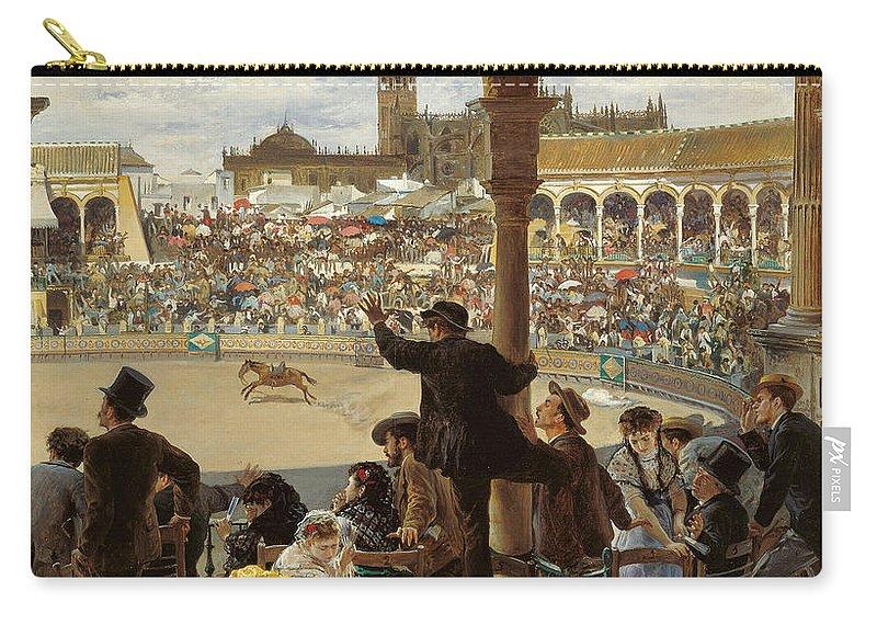 Jose Jimenez Aranda Carry-all Pouch featuring the painting A Pass In The Bullring by Jose Jimenez Aranda