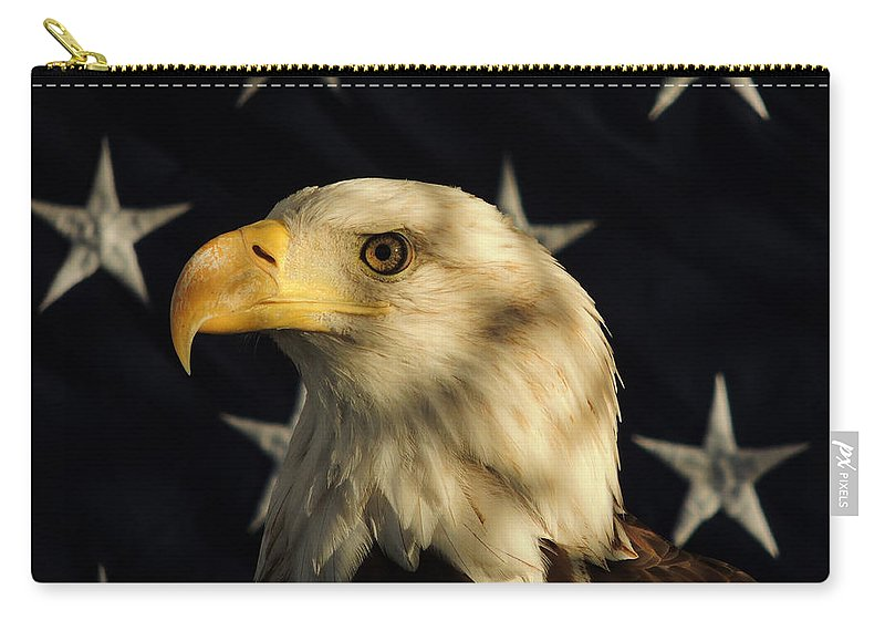 Eagle Carry-all Pouch featuring the photograph A Patriot by Raymond Salani III