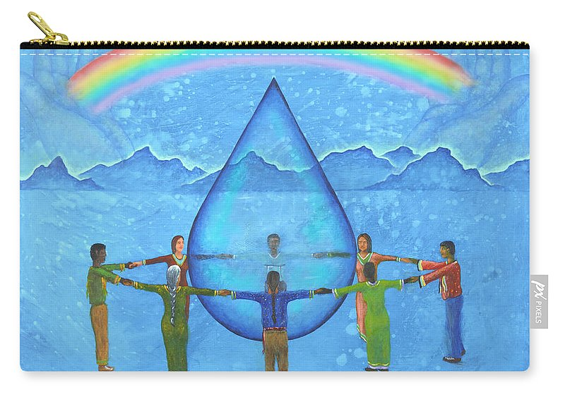 Native American Carry-all Pouch featuring the painting A Prayer For Water by Kevin Chasing Wolf Hutchins