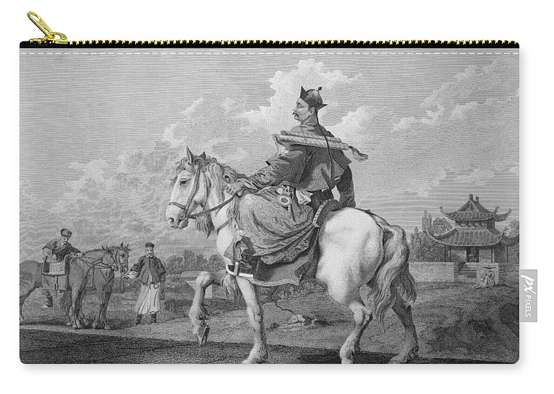 Print Carry-all Pouch featuring the drawing A Quan Or Mandarin Bearing A Letter by William Alexander