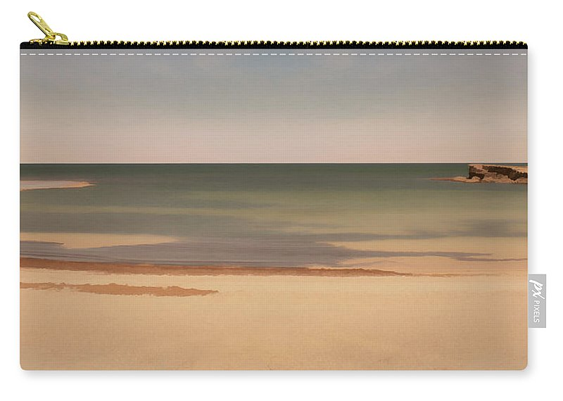Greenhead Carry-all Pouch featuring the photograph A Quiet Beach by Elaine Teague
