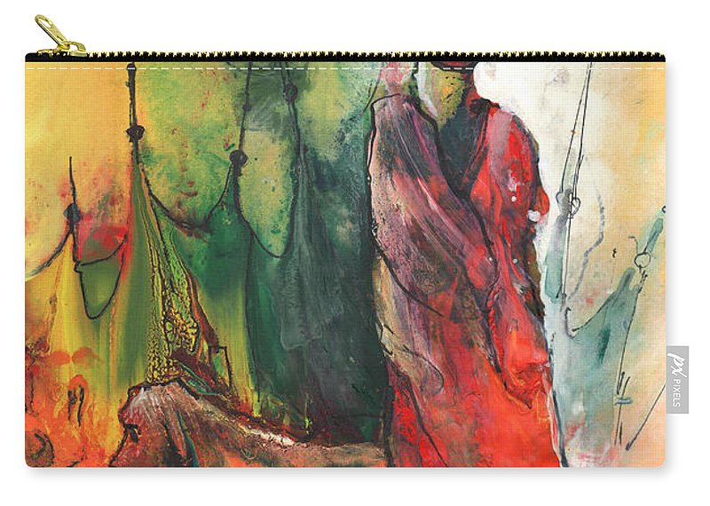 Dream Carry-all Pouch featuring the painting A Red Dog In Morocco by Miki De Goodaboom