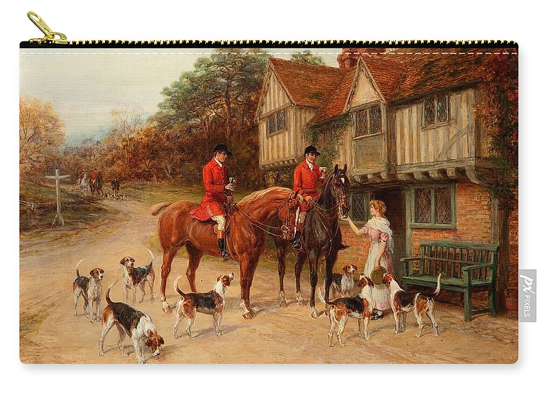 Inn Carry-all Pouch featuring the painting A Refresher At The Dragon by Heywood Hardy