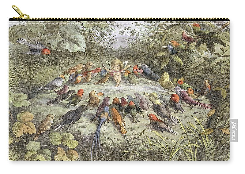 Bird Carry-all Pouch featuring the drawing A Rehearsal In Fairy Land, Illustration by Richard Doyle