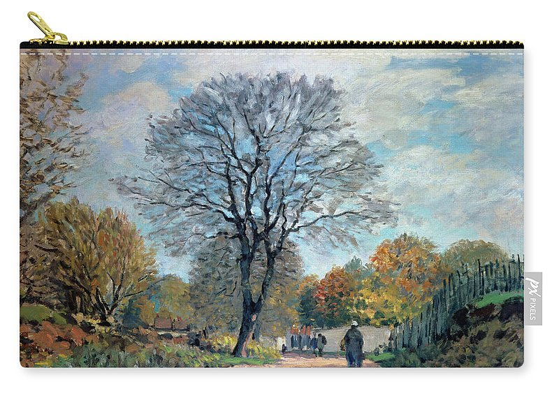 Impressionist Carry-all Pouch featuring the painting A Road In Seine-et-marne, 1878 by Alfred Sisley