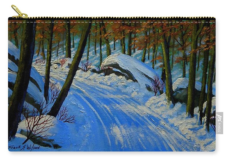 Winter Carry-all Pouch featuring the painting A Road Still Traveled by Frank Wilson