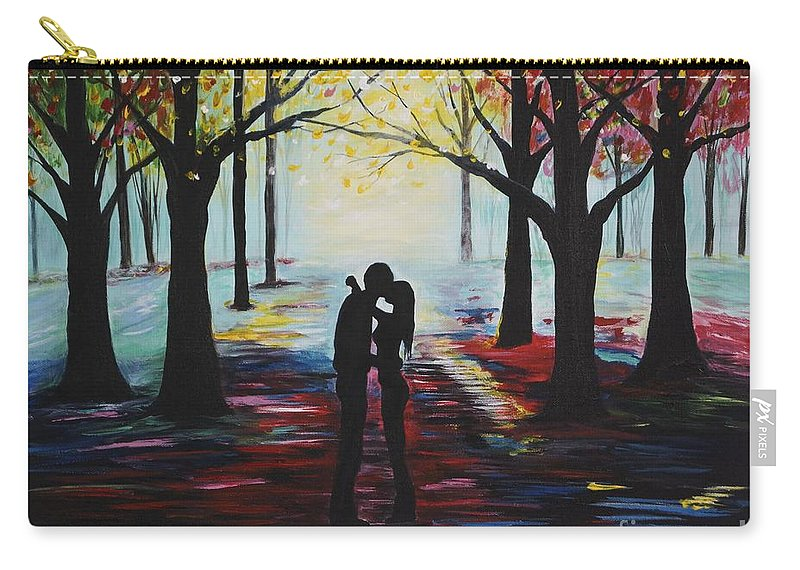 Couple Carry-all Pouch featuring the painting A Romantic Kiss by Leslie Allen