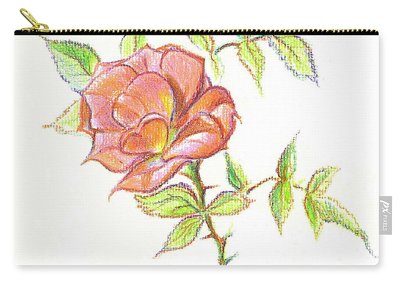 A Rose In Brigadoon Carry-all Pouch featuring the drawing A Rose In Brigadoon by Kip DeVore