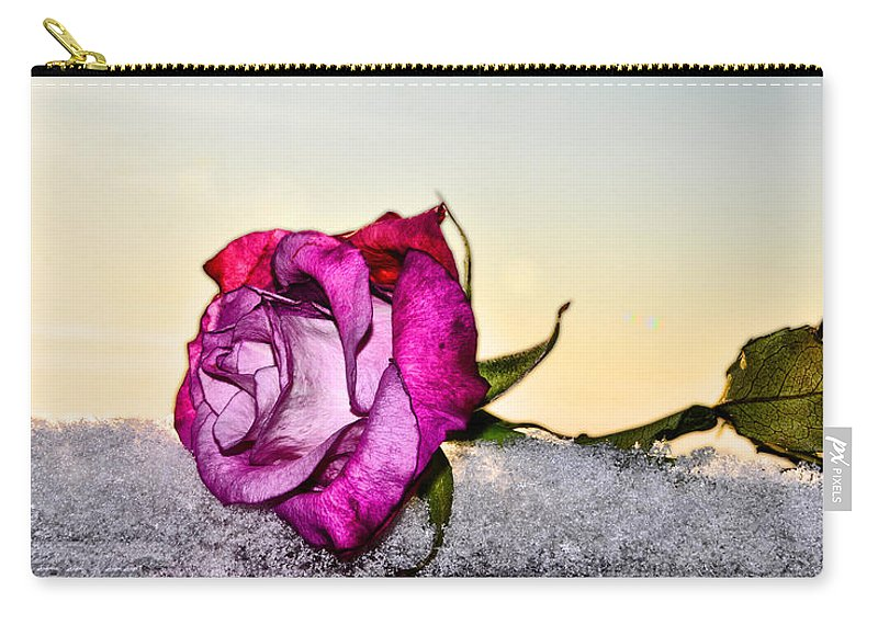 A Rose In Winter Carry-all Pouch featuring the photograph A Rose In Winter by Bill Cannon