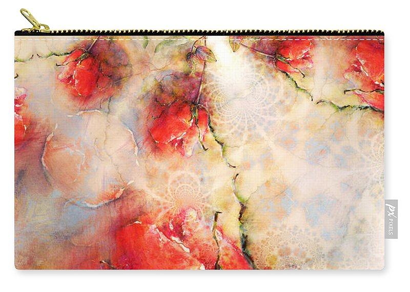 Fractal Carry-all Pouch featuring the painting A Rose Is A Rose Is A Rose by Miki De Goodaboom