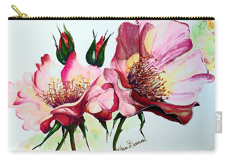 Flower Painting Carry-all Pouch featuring the painting A Rose Is A Rose by Karin Dawn Kelshall- Best