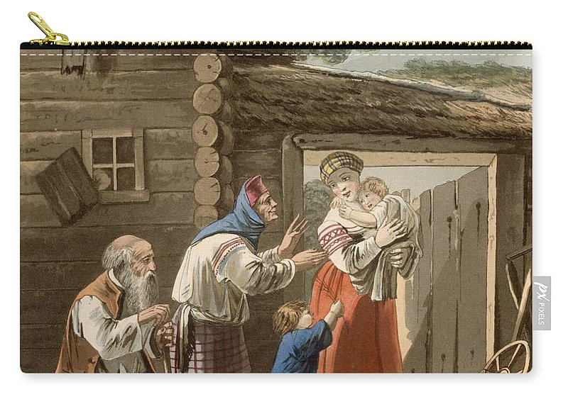 Illustration Carry-all Pouch featuring the drawing A Russian Peasant Family, 1823 by English School