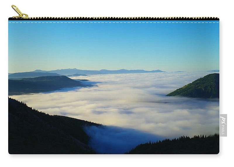 Panoramic. Mountains Carry-all Pouch featuring the photograph A Sea Of Fog by Jeff Swan