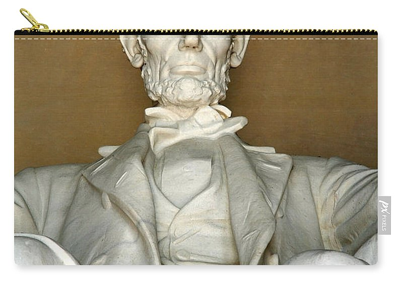 Abe Carry-all Pouch featuring the photograph A Seated Abe Lincoln by Cora Wandel