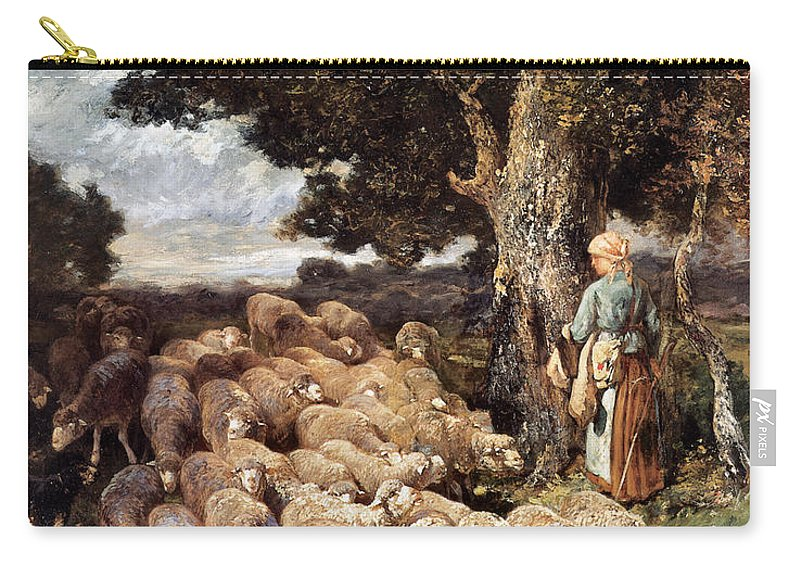 A Shepherdess With Her Flock Near A Stream Carry-all Pouch featuring the digital art A Shepherdess With Her Flock Near A Stream by Charles Emile Jacque