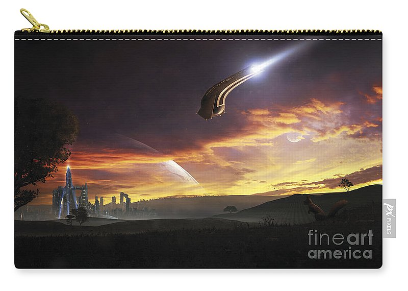 Horizontal Carry-all Pouch featuring the digital art A Shuttle In The Process Of Landing by Tobias Roetsch