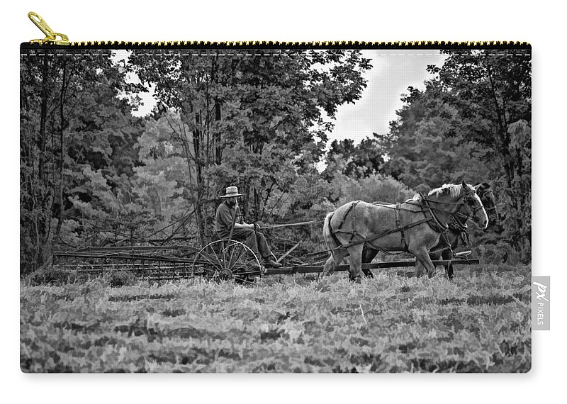 Farm Carry-all Pouch featuring the photograph A Simpler Time Bw by Steve Harrington