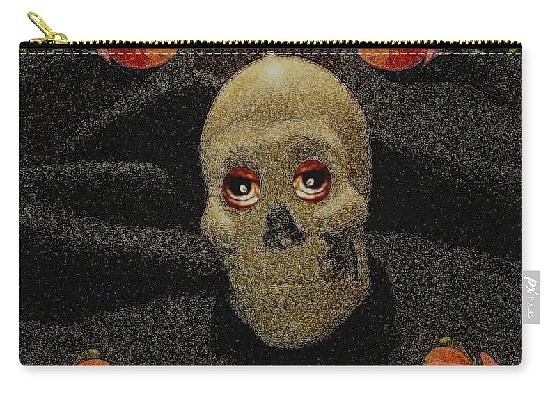 Skull Carry-all Pouch featuring the mixed media A Skull In The Dark Pop Art by Pepita Selles