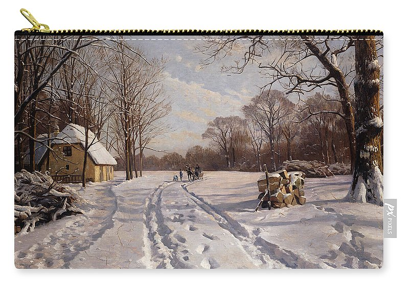 Danish Carry-all Pouch featuring the painting A Sleigh Ride Through A Winter Landscape by Peder Monsted