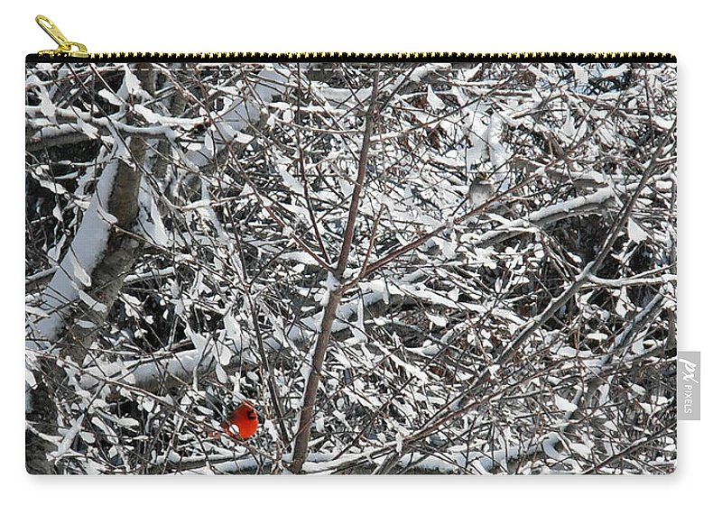 Blizzard Carry-all Pouch featuring the photograph A Spot Of Joy Amongst The Blizzard by Kimberly Perry