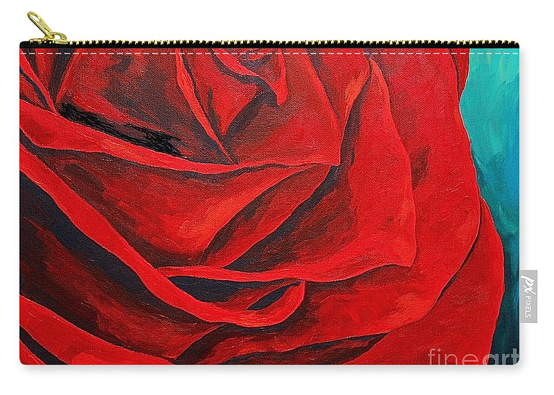 Rose Red Rose Deep Red Rose Carry-all Pouch featuring the painting A Spring Rose by Herschel Fall