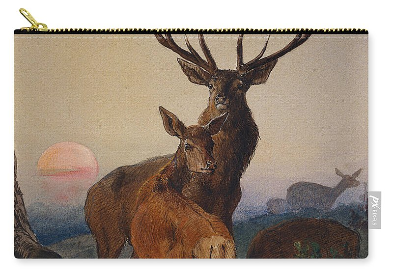 Stag Carry-all Pouch featuring the painting A Stag With Deer In A Wooded Landscape At Sunset by Charles Jones