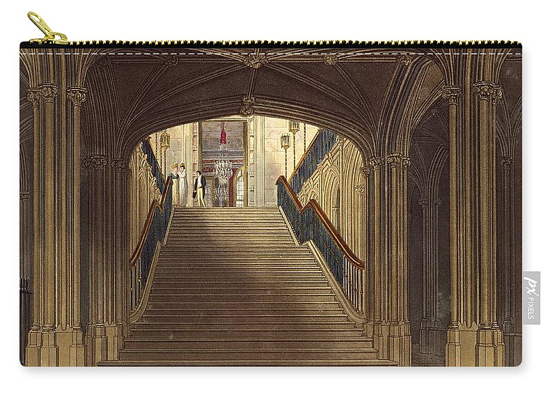 Step Carry-all Pouch featuring the drawing A Staircase, Windsor Castle, From Royal by Charles Wild