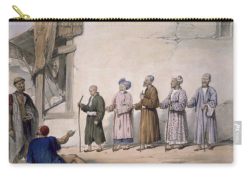 Cabaub Carry-all Pouch featuring the drawing A String Of Blind Beggars, Cabul, 1843 by James Atkinson