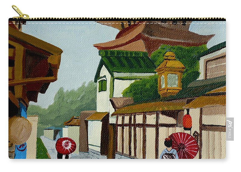 Japan Carry-all Pouch featuring the painting A Stroll In Old Kyoto by Anthony Dunphy