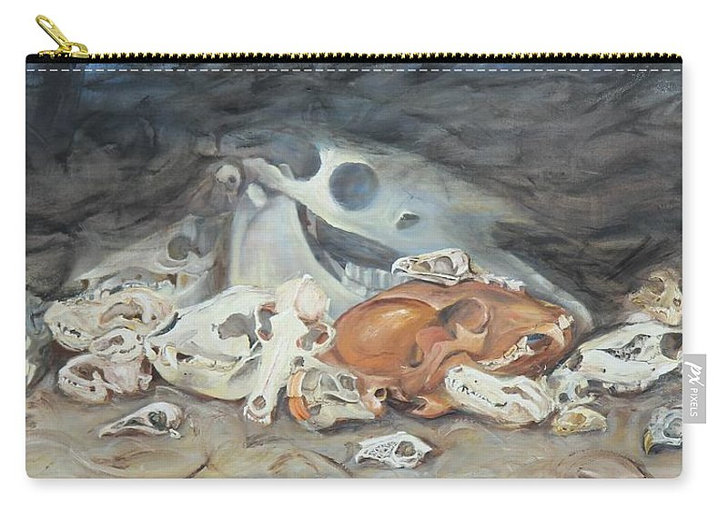 Skull Carry-all Pouch featuring the painting A Study Of Skulls by Codyrose Bowden