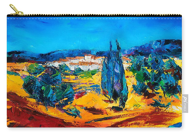 Landscape Carry-all Pouch featuring the painting A Sunny Day In Provence by Elise Palmigiani