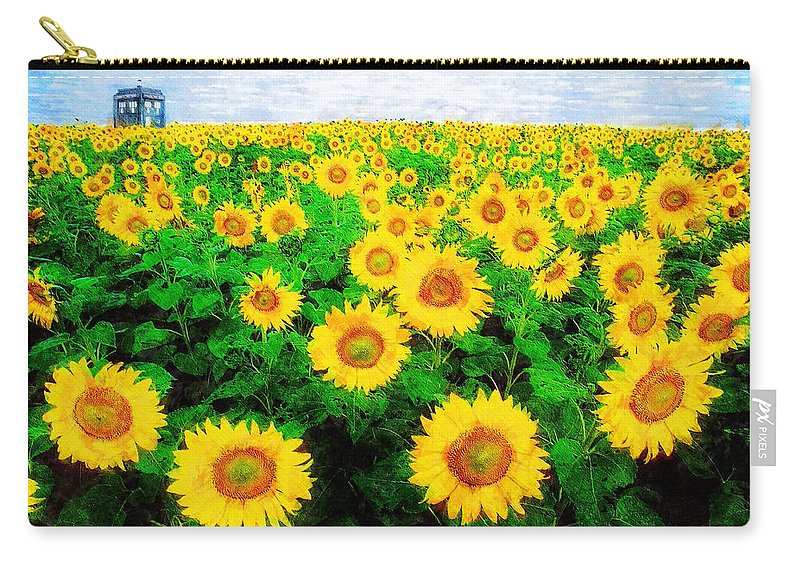 Sunflower Carry-all Pouch featuring the painting A Sunny Day with Vincent by Sandy MacGowan