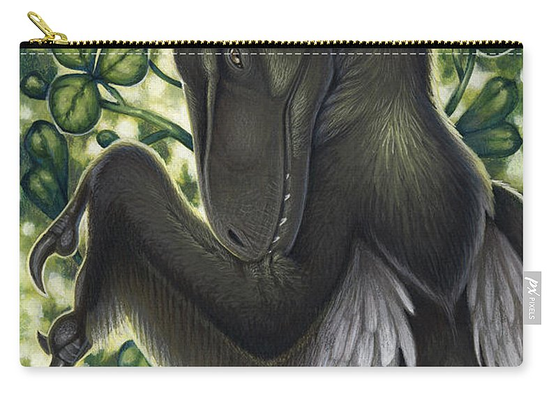 Illustration Technique Carry-all Pouch featuring the digital art A Suspicious Deinonychus Antirrhopus by H. Kyoht Luterman