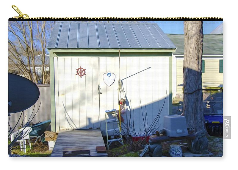 Shed Carry-all Pouch featuring the painting A Tool Shed In The Back Yard by Jeelan Clark
