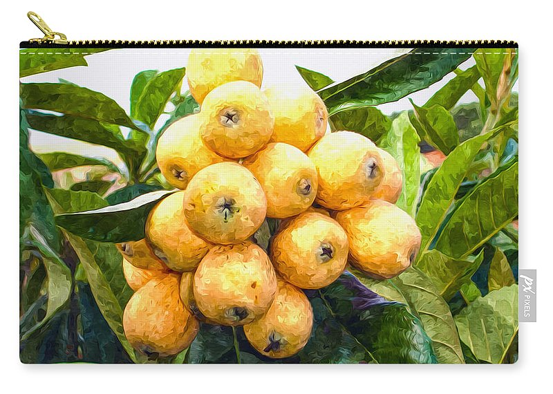 Loquat Carry-all Pouch featuring the painting A Tree Full Of Ripe Loquats by Jeelan Clark