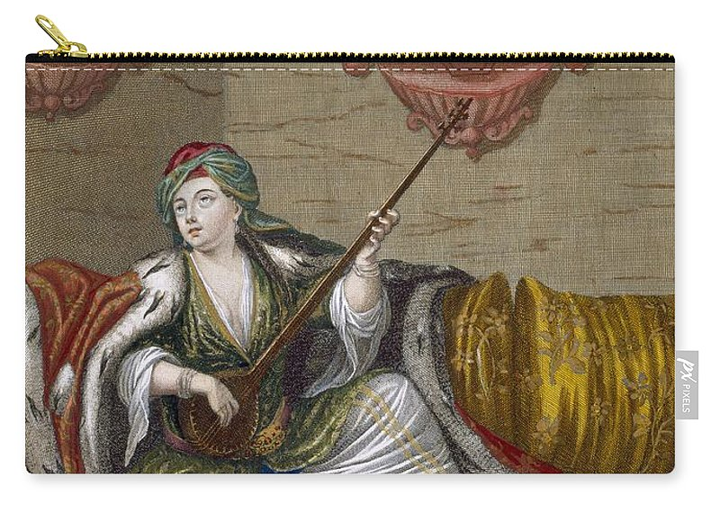 Nations Du Levant Carry-all Pouch featuring the drawing A Turkish Girl Playing The Tehegour by French School