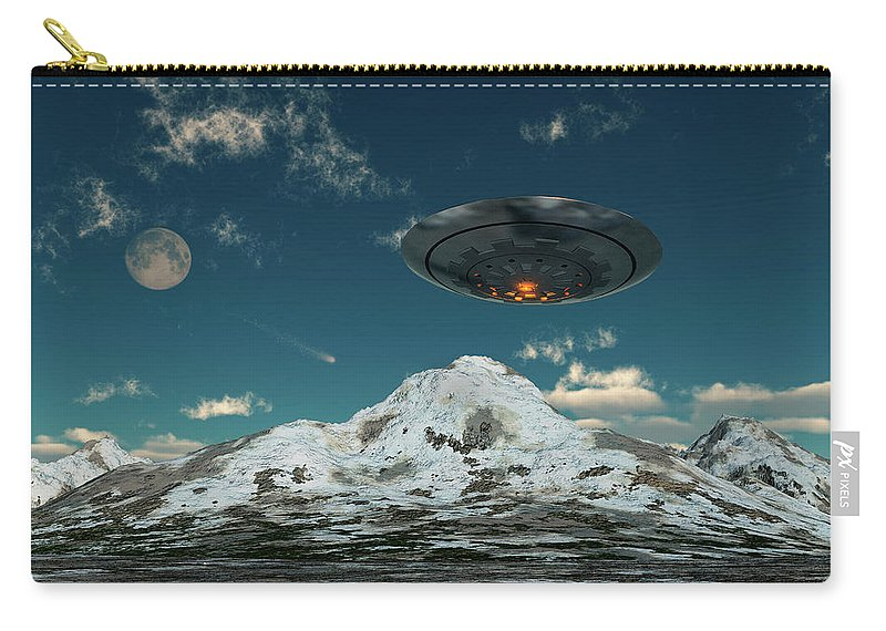 Horizontal Carry-all Pouch featuring the photograph A Ufo Flying Over A Mountain Range by Mark Stevenson