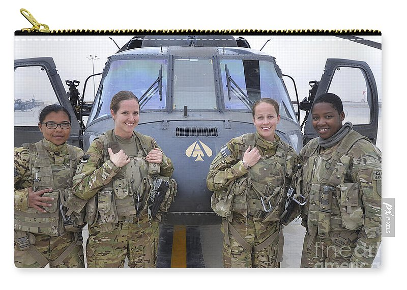 Horizontal Carry-all Pouch featuring the photograph A U.s. Army All Female Crew by Stocktrek Images