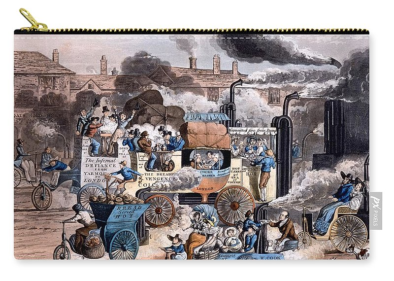 A View In White Chapel Road Carry-all Pouch featuring the drawing A View In White Chapel Road 1830 by English School