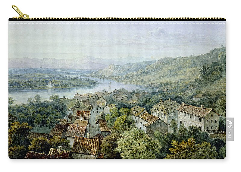 River Rhine Carry-all Pouch featuring the drawing A View Of Karlsruhe by Thomas Sidney Cooper