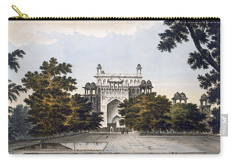 View Carry-all Pouch featuring the drawing A View Of Part Of The Tomb by William Hodges