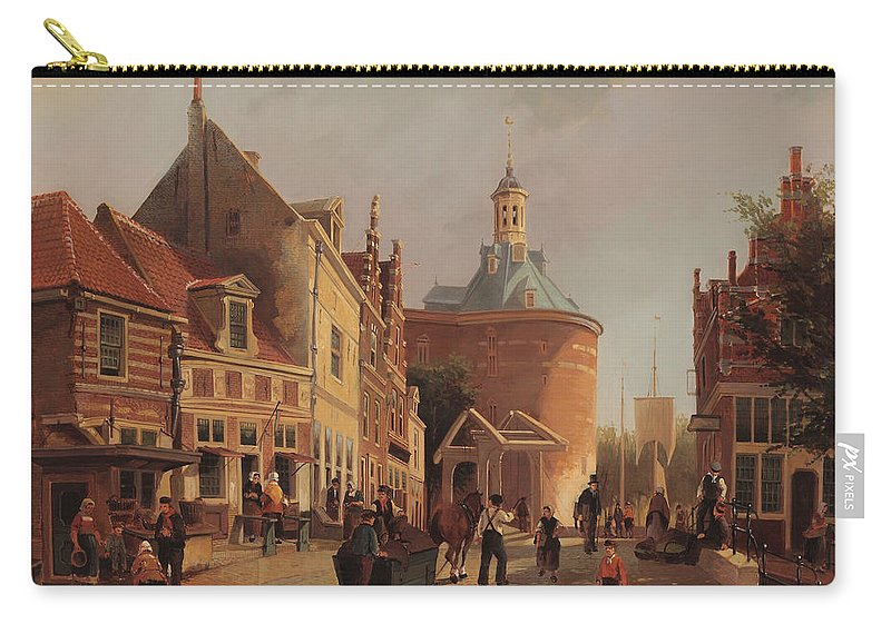 Zuiderspui Carry-all Pouch featuring the painting A View Of The Zuiderspui by Oene Romkes de Jongh
