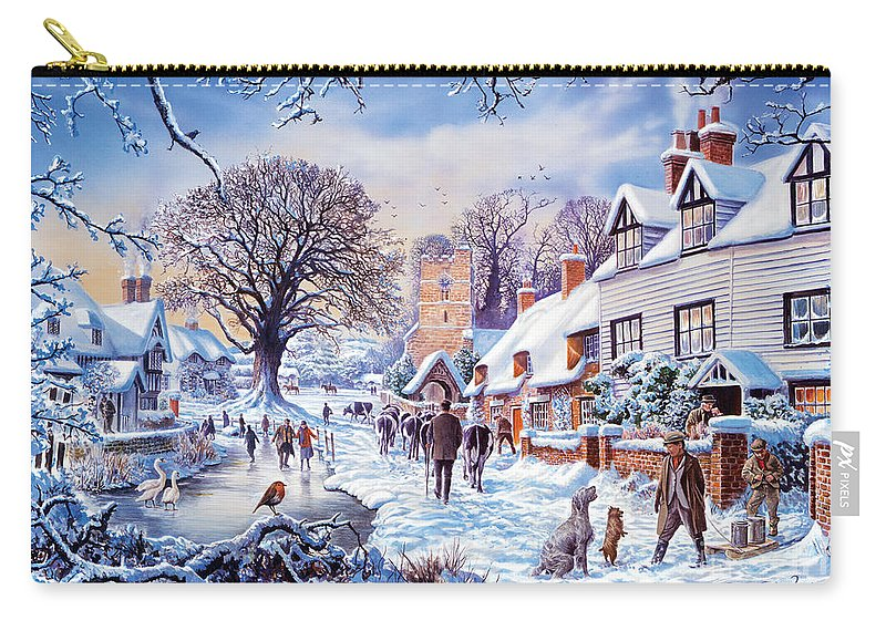 Animal Carry-all Pouch featuring the digital art A Village In Winter by Steve Crisp