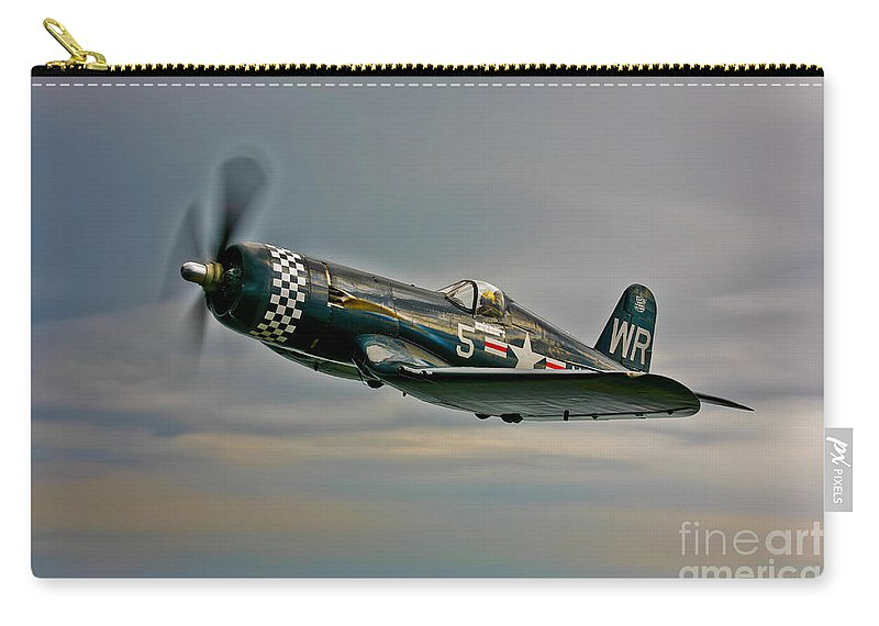 Horizontal Carry-all Pouch featuring the photograph A Vought F4u-4 Corsair In Korean War by Scott Germain