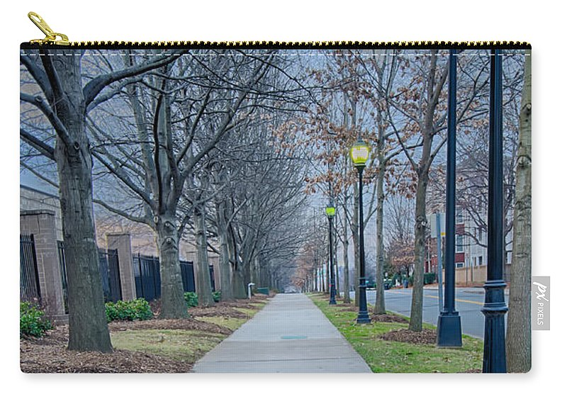 A Walk Carry-all Pouch featuring the photograph A Walk On A Sidewalk Street Alley by Alex Grichenko