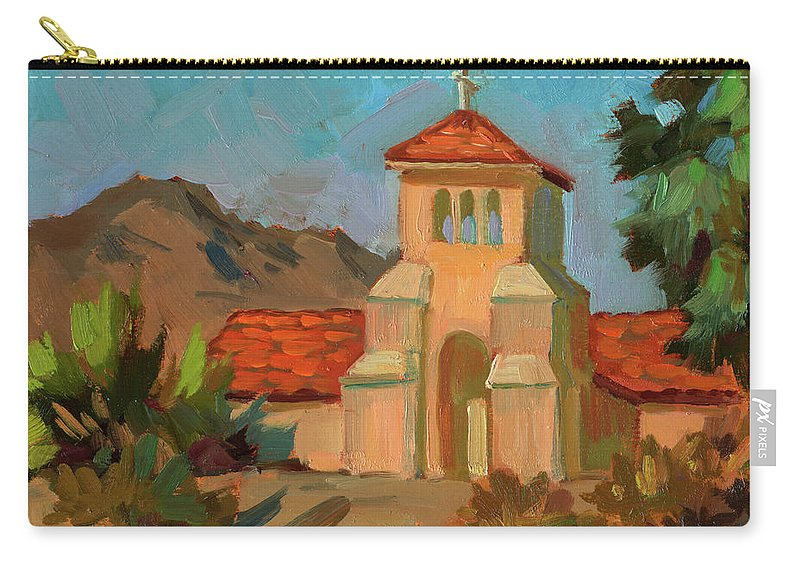 Warm Day Carry-all Pouch featuring the painting A Warm Day At Borrego Springs Lutheran by Diane McClary